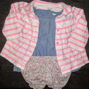 Carter's 3/6 Month 3-Piece Outfit- Denim/Floral